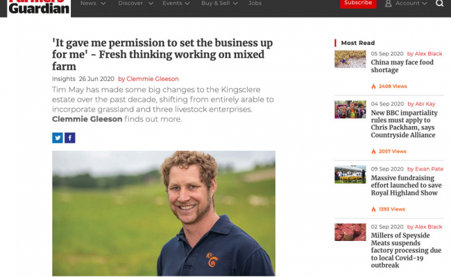 Farmers Guardian interview with Tim May