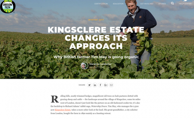 Oregon Tilth feature with Tim May, Kingsclere Estates